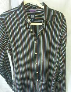 Mens striped Gap fitted button down shirt